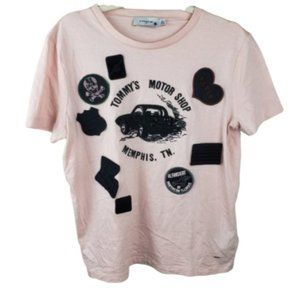 Coach Peach & Black Speedster Patch Graphic Tee M